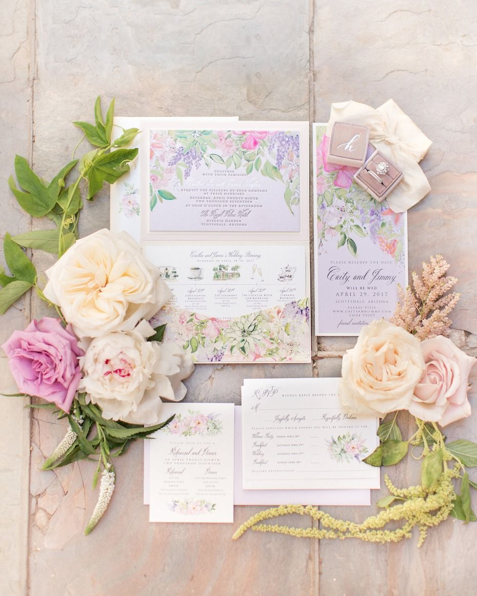Dreamy garden wedding straight out of a fairytale invitation suite