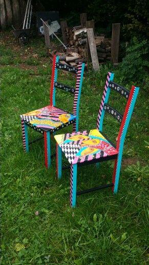 Bemalte Stühle bemalte stühle akryl auf holz jeanett rotter gemälde