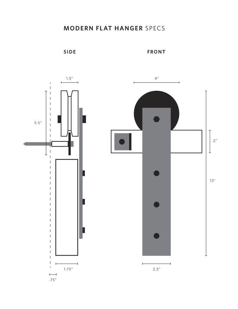Drawings And Specifications For Our Modern Barn Door Hardware Kits