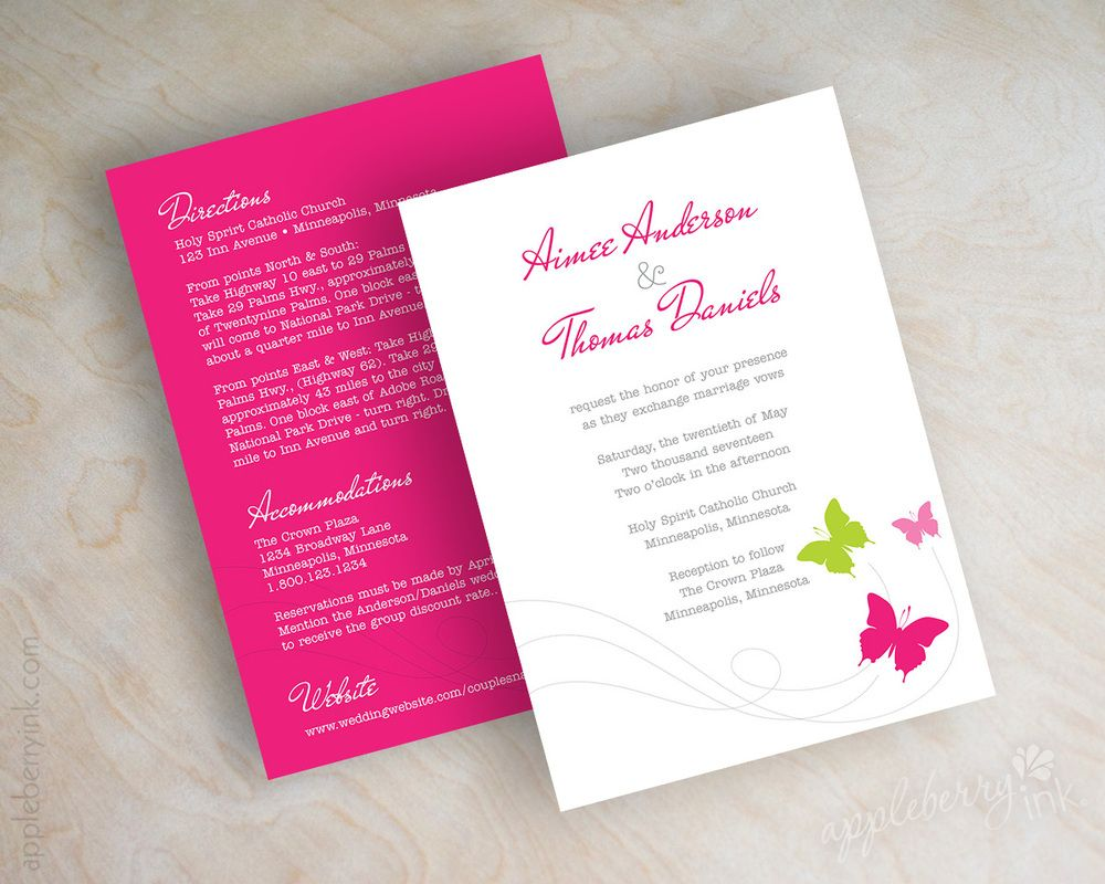 Erfly Wedding Invitations Shown In Fuchsia Magenta Hot Pink Lime Green