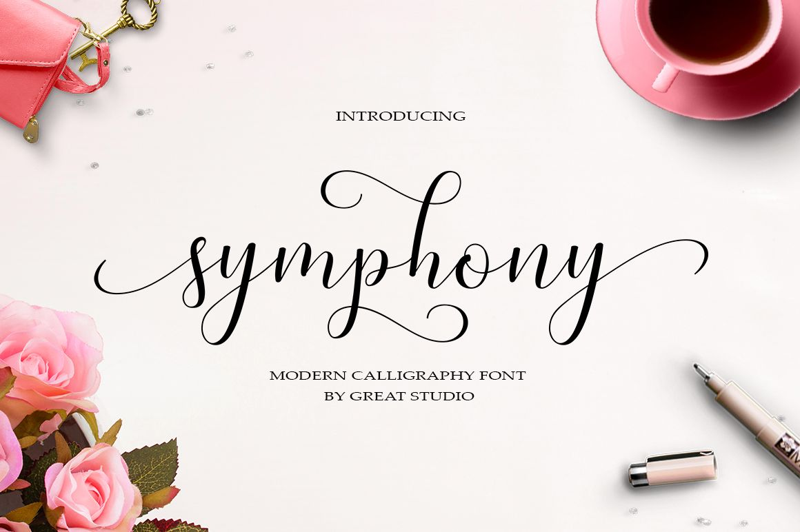 Symphony script is modern calligraphy design including regular