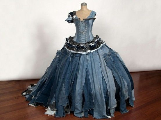 ballgown made from old denim jeans by deena. I thought that this was hideous but, I couldn't resist pinning it!