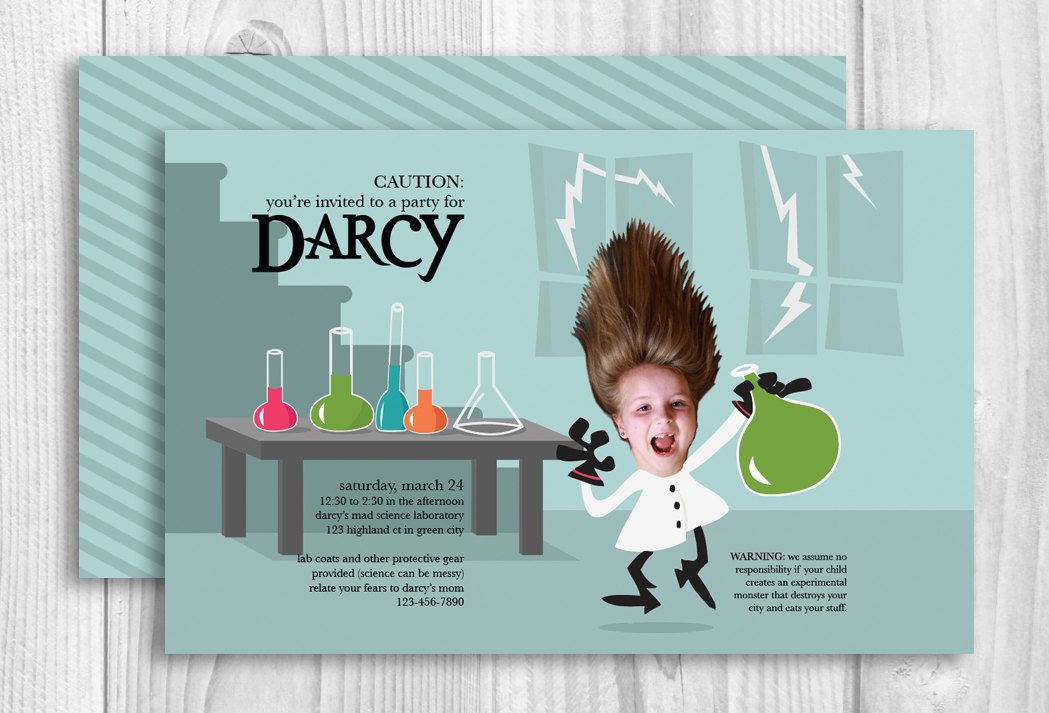 Mad Scientist Birthday Party Invitations Scientist Birthday Scientist Birthday Party Mad Scientist Party
