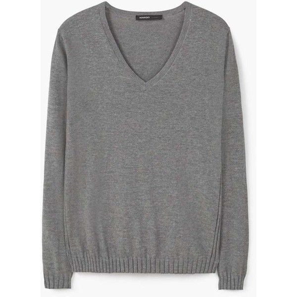 Ribbed Cotton-Blend Sweater ($17) ❤ liked on Polyvore featuring tops, sweaters, v neck sweater, long sleeve cable knit sweater, v-neck sweater, long sleeve tops and long sleeve v neck sweater