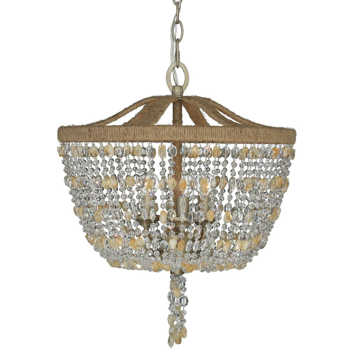 Rock crystal basket and jute frame mini chandelier ideas for