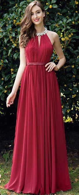 2017410642c0 Burgundy Pleated Halter Formal Evening Dress (00170317)