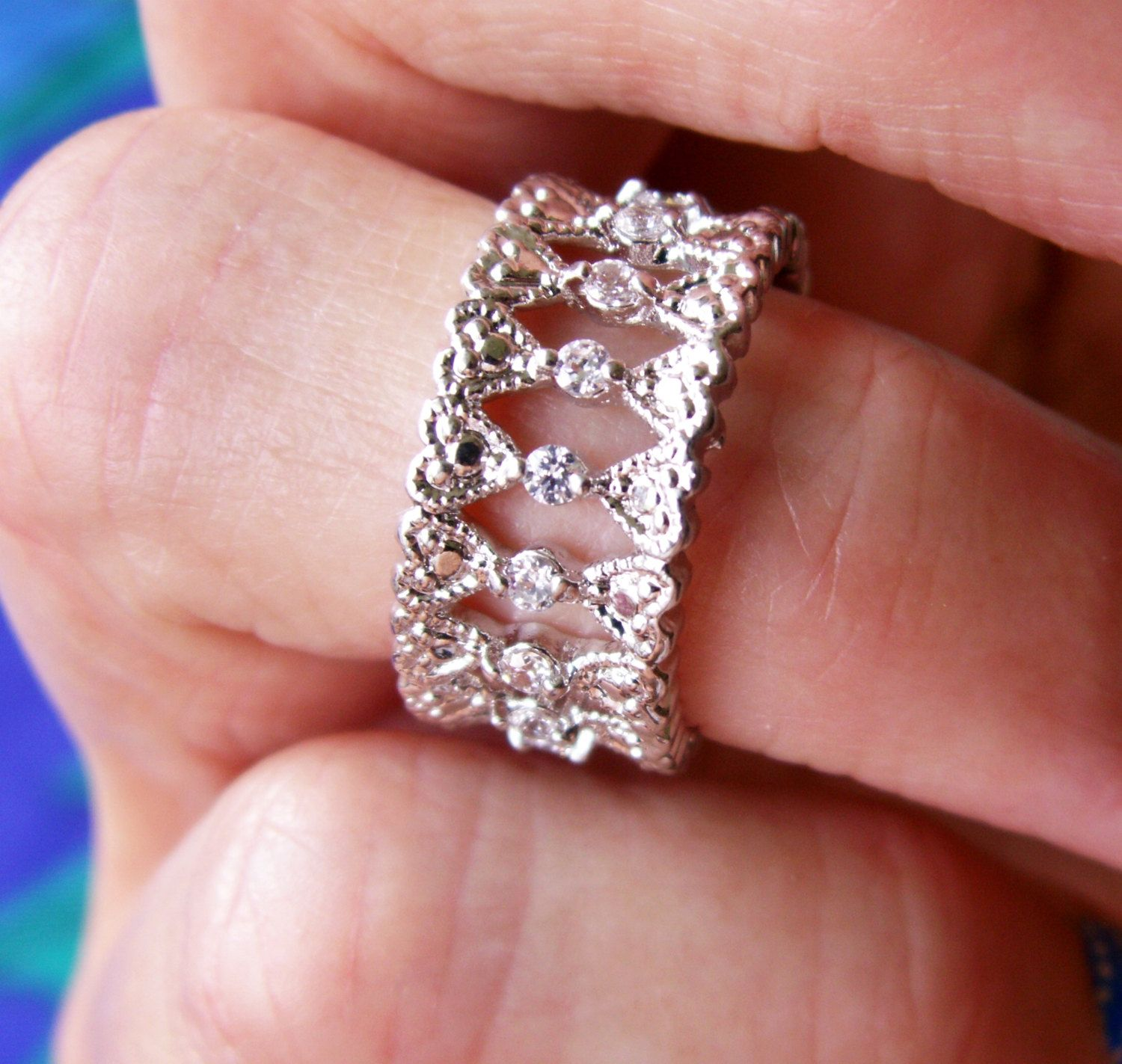 Silver Tone Filigree Clear Stone Studded Wide Band Ring Size 7 ...
