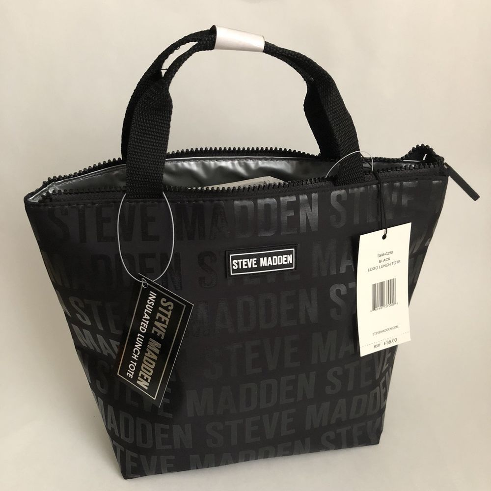 35400203d06 Steve Madden Logo Insulated Lunch Tote Bag, Black, Zippered, 9.5x9x5, NWT