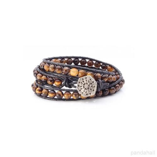 Jewelry Inspiration of Leather Tiger Eye Beads Bracelet | PandaHall Beads Jewelry Blog