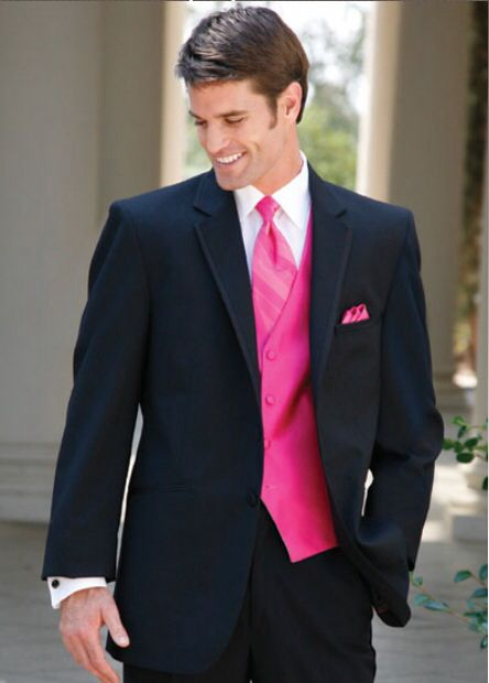 Black tuxedo with pink vest and tie! | David and Eileen ...