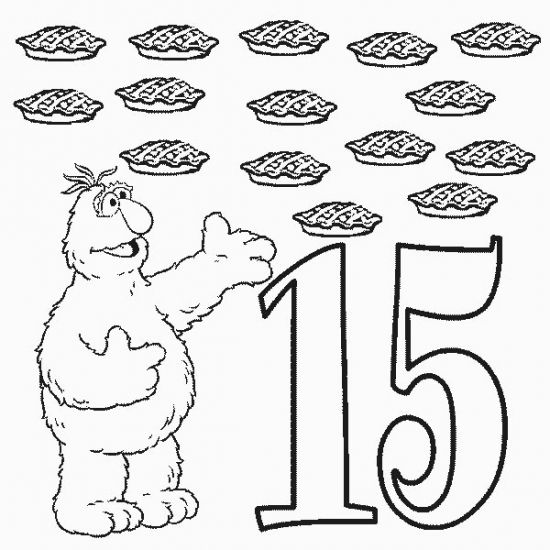 Number Fifteen 15 Coloring Pages For Kids Sesame Street Coloring