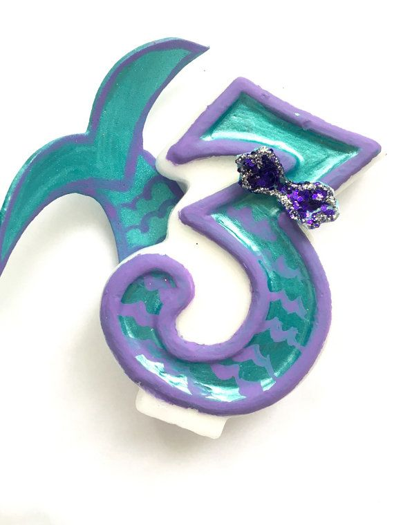 Mermaid Birthday Candle    Number Candle   Hand Painted