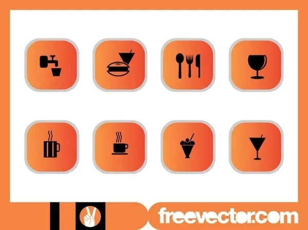 Foods and Drinks Icons Set Free Vector in 2020 Drink