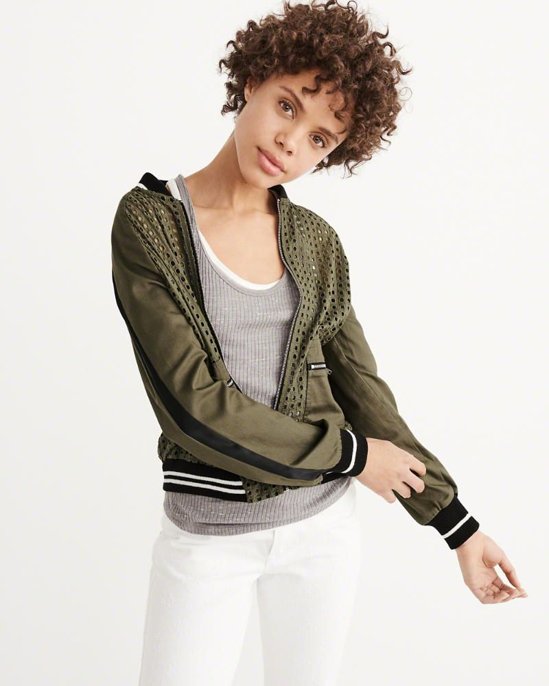 1c0cb6bf3 A&F Women's Eyelet Bomber Jacket in Olive Green - Size S | Products ...