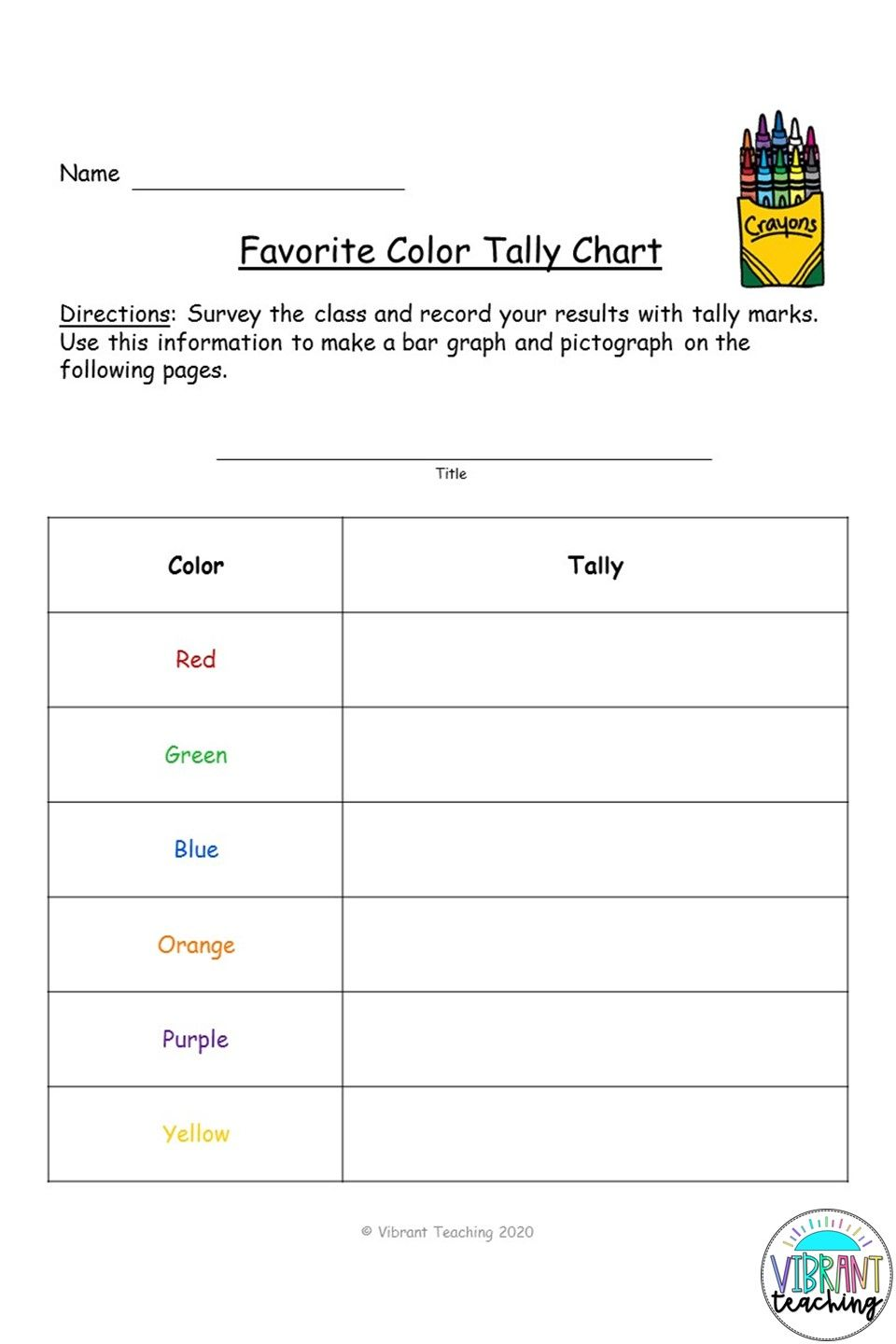 Tally Chart Worksheet Favorite Color Bar Graphs Graphing Tally Chart [ 1440 x 960 Pixel ]