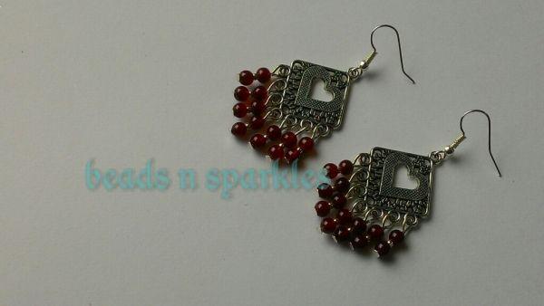 Beautiful maroon beads earrings