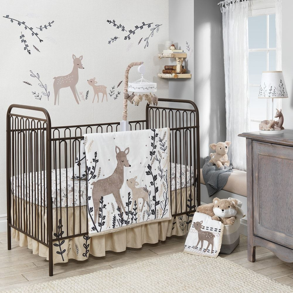 Meadow Deer Crib Bedding Set Multicolor
