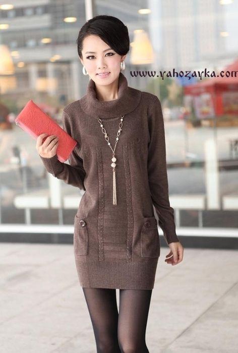 платье туника спицами с воротником хомутом схема вязания платья
