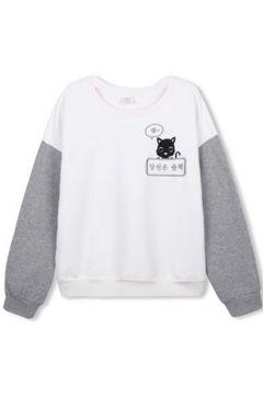 Color Block Cat Cartoon Print Long Sleeve Sweatshirt