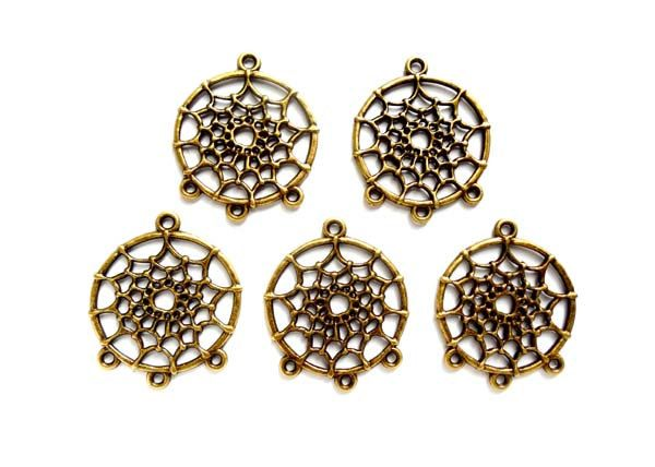 5 Antique Bronze Dreamcatcher Connector/Charms by TreeChild1 on Etsy