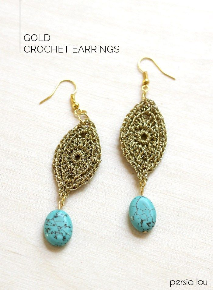 Diy Gold Crochet Earrings Crochet Items To Make Pinterest Free