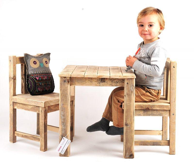 Steigerhouten kindertafel plus stoel en 87 95 www - Kindertafel wand ...