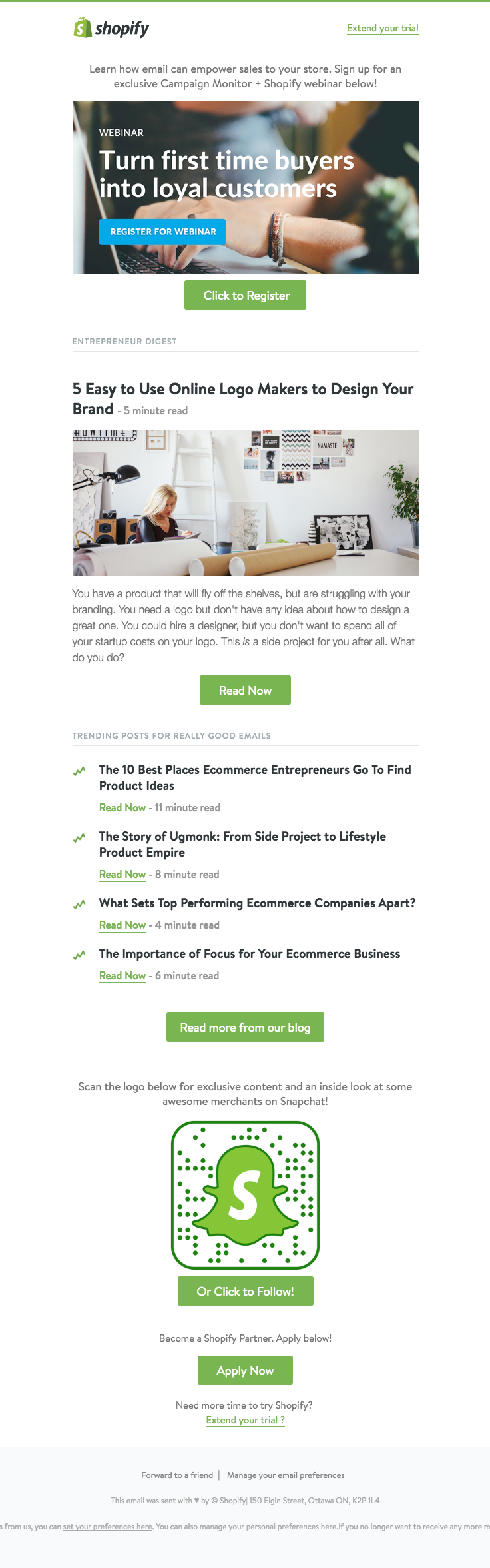 shopify sent this email with the subject line 5 easy to use online