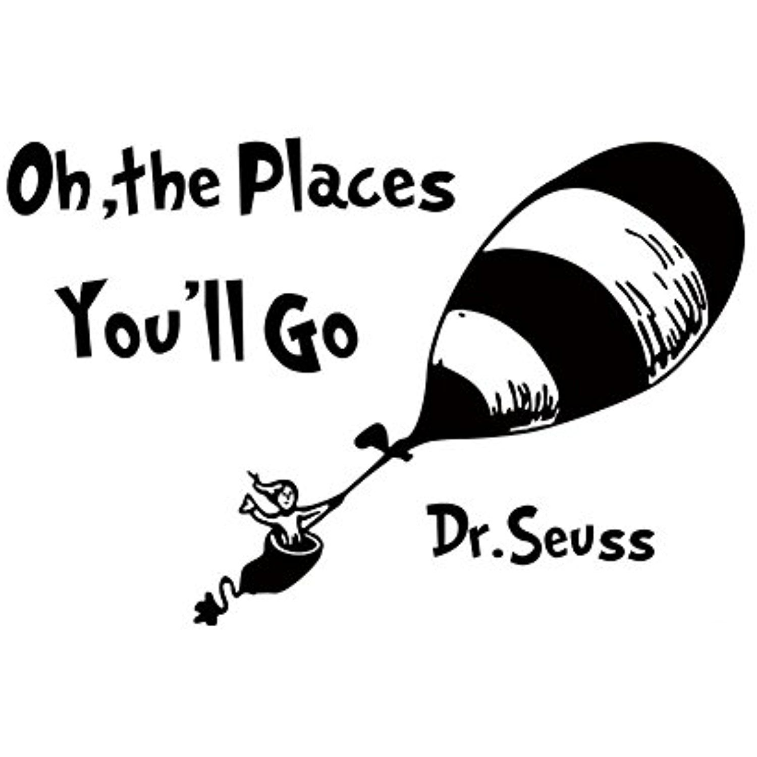 Fangeplus Tm Diy Removable Dr Seuss Oh The Places You Will Go Balloon Travel Art Mural Vinyl Waterproof Nursery Decals Kids Room Wall Stickers Kid Room Decor
