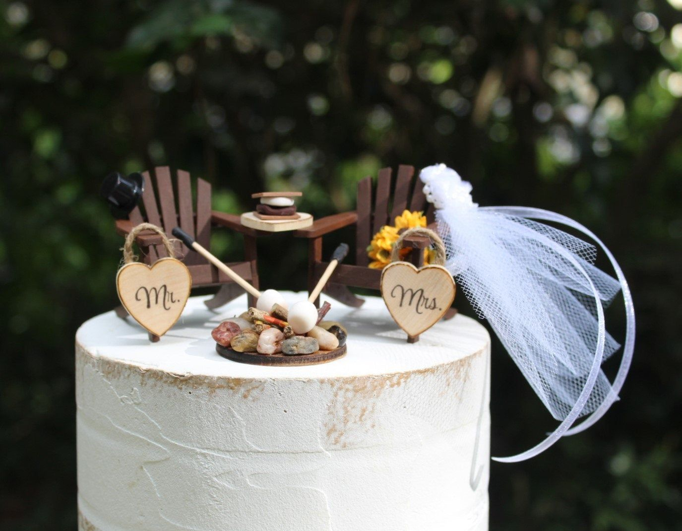 Wedding Cake Topper Camping Fire Pit Marshmallows Etsy Wedding Cake Toppers Custom Wedding Cakes Rustic Wedding Cake Toppers