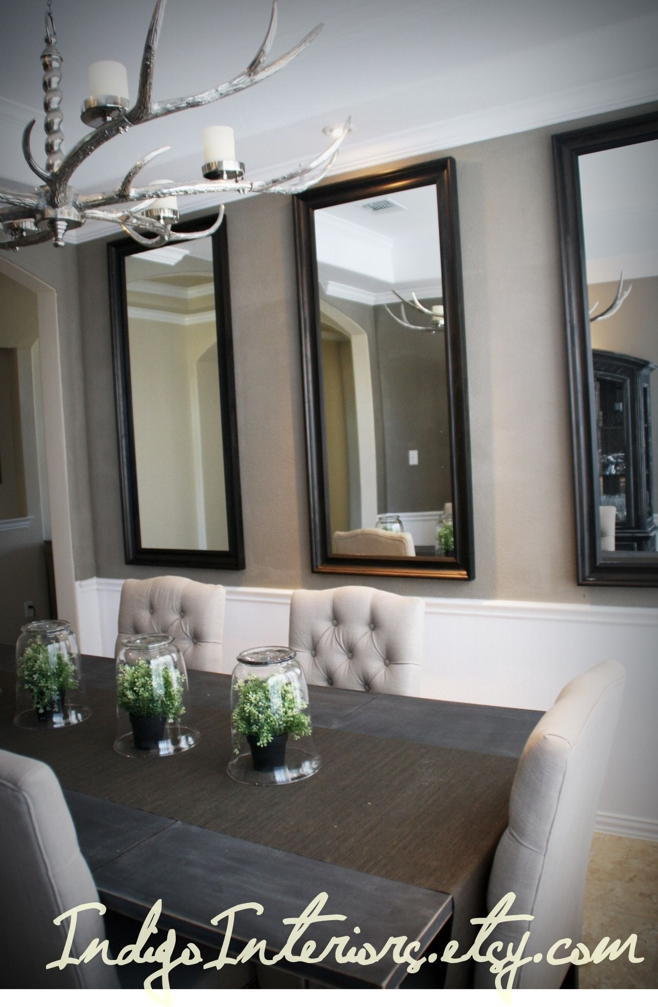 Make a statement in the dining room with three large for Dining room mirror ideas
