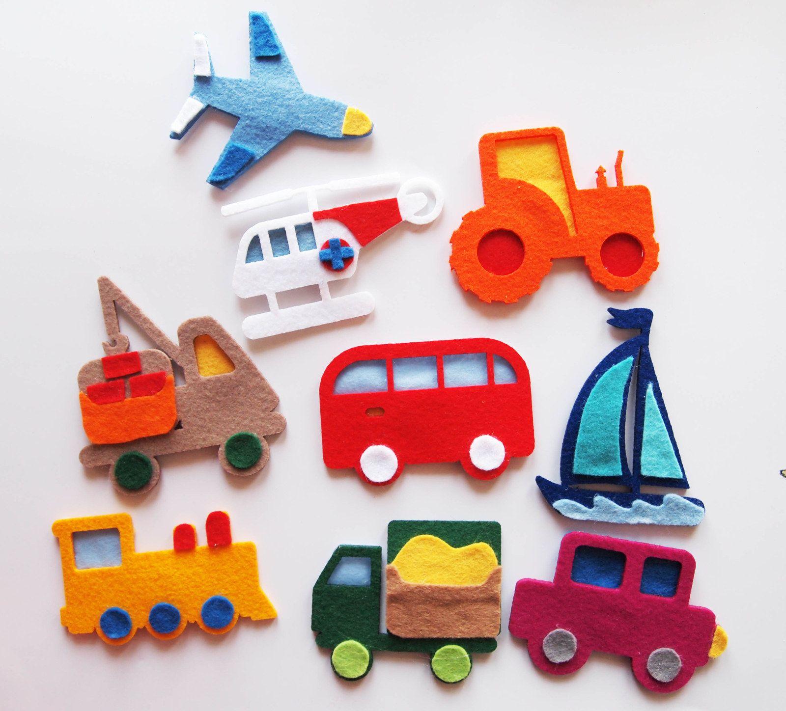 magnetky z filcu - dopravní prostředky Také vaše děti milují magnetky  Sada  9 - ti ecf515c9ffa