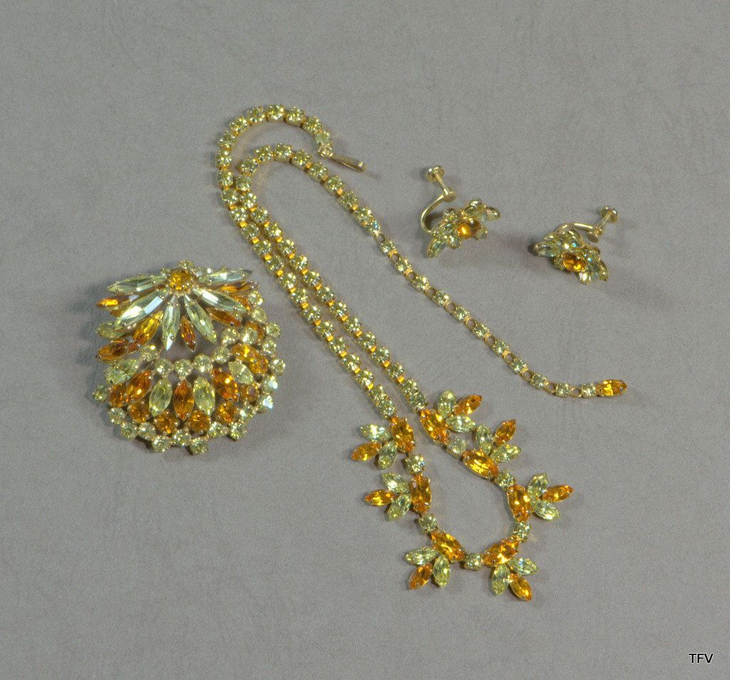 Sherman Jewelry Set Necklace Brooch Earrings1960's Citrine and Topaz by TimeFliesVintageShop on Etsy https://www.etsy.com/ca/listing/294108723/sherman-jewelry-set-necklace-brooch