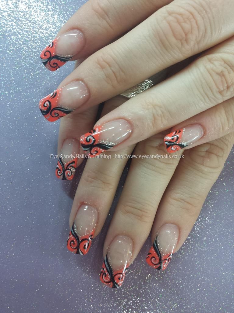 Freehand black swirl nail art Taken at:7/1/2014 2:10:03 PM Uploaded ...
