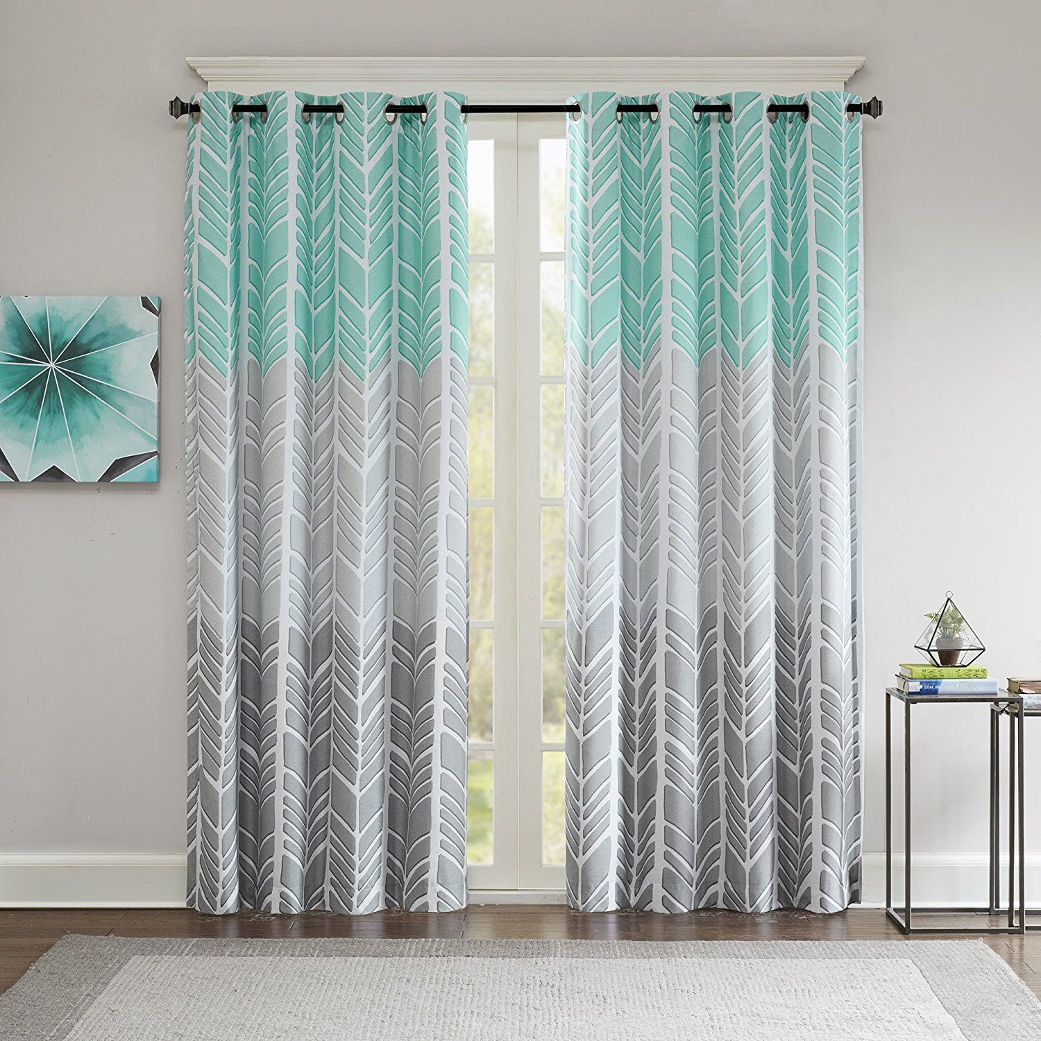 84 Inch Girls Aqua Color Geometric Printed Blackout Curtain Single