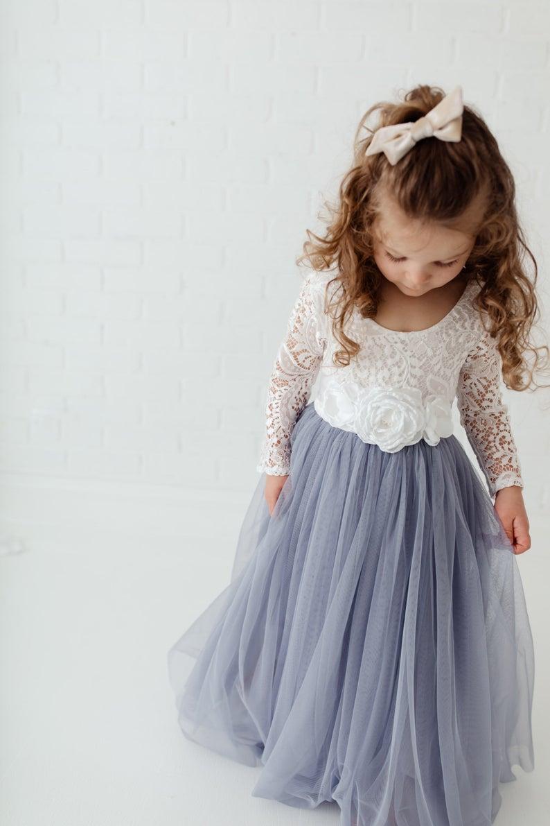 Dusty Blue Gray Tulle Long Sleeve Wedding Dress White Lace Etsy Flower Girl Dresses Blue Toddler Flower Girl Dresses Wedding Dress Long Sleeve [ 1191 x 794 Pixel ]