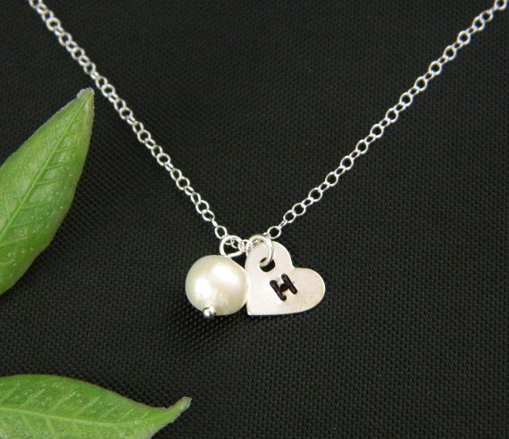 Flower Girl Necklace, Heart Necklace, Flower Girl Gift, Monogram Necklace, Junior Bridesmaid Gifts, Personalized Children Jewelry. $26.00, via Etsy.