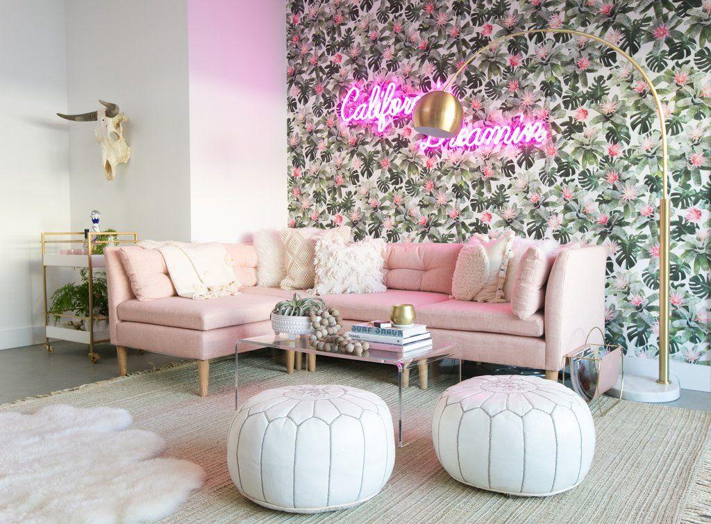 Exclusive Peek Inside Bachelor Star Lauren Bushnell S Glam Socal Apartment Pink Living Room Decor Pink Living Room Room Decor