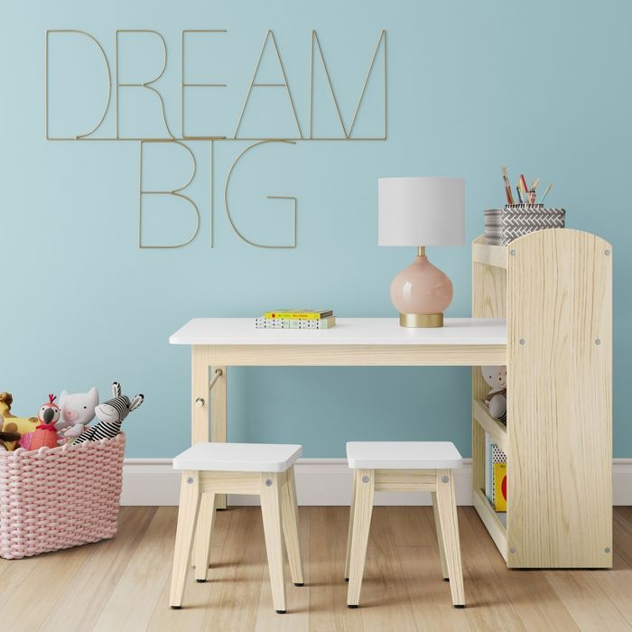 Robinson Kids' Storage Activity Table and Stools with Shelf White - Pillowfort™