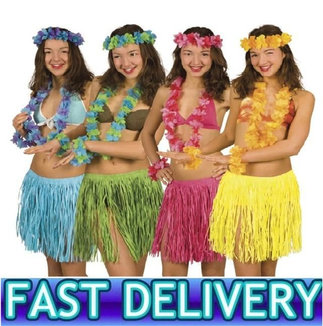 Kids Hawaiian Hula Dance Grass Skirt Lei Headband Wristband Fancy Dress  US