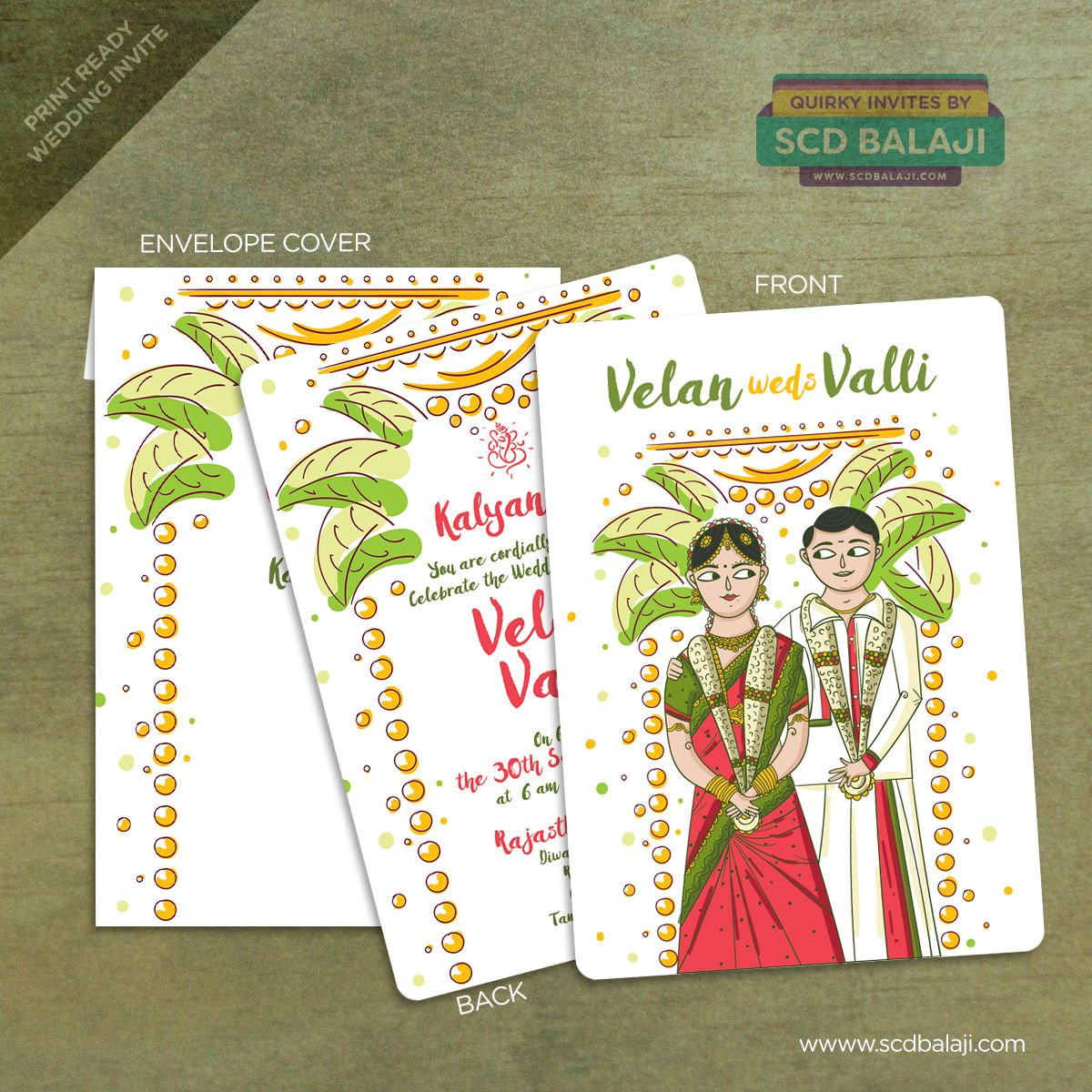 South Indian Tamil Wedding Invitation Design and Illustration by SCD ...