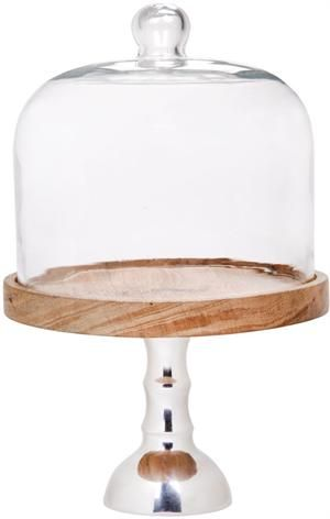 Metal And Wood Cake Pedestal With Glass Dome Wooden Cake Stands Cake Plates Tiered Cake Stands