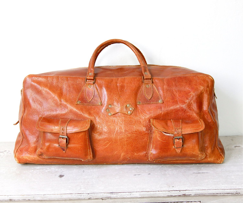 Brown Leather Travel Satchel Bag Large Vintage.