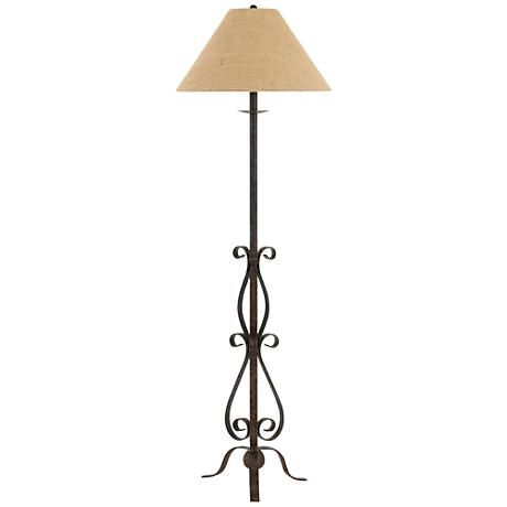 Ekalaka natural wrought iron scroll floor lamp style 10t84 a beautiful burlap empire shade caps this charming wrought iron floor lamp and its decorative scroll mozeypictures Images