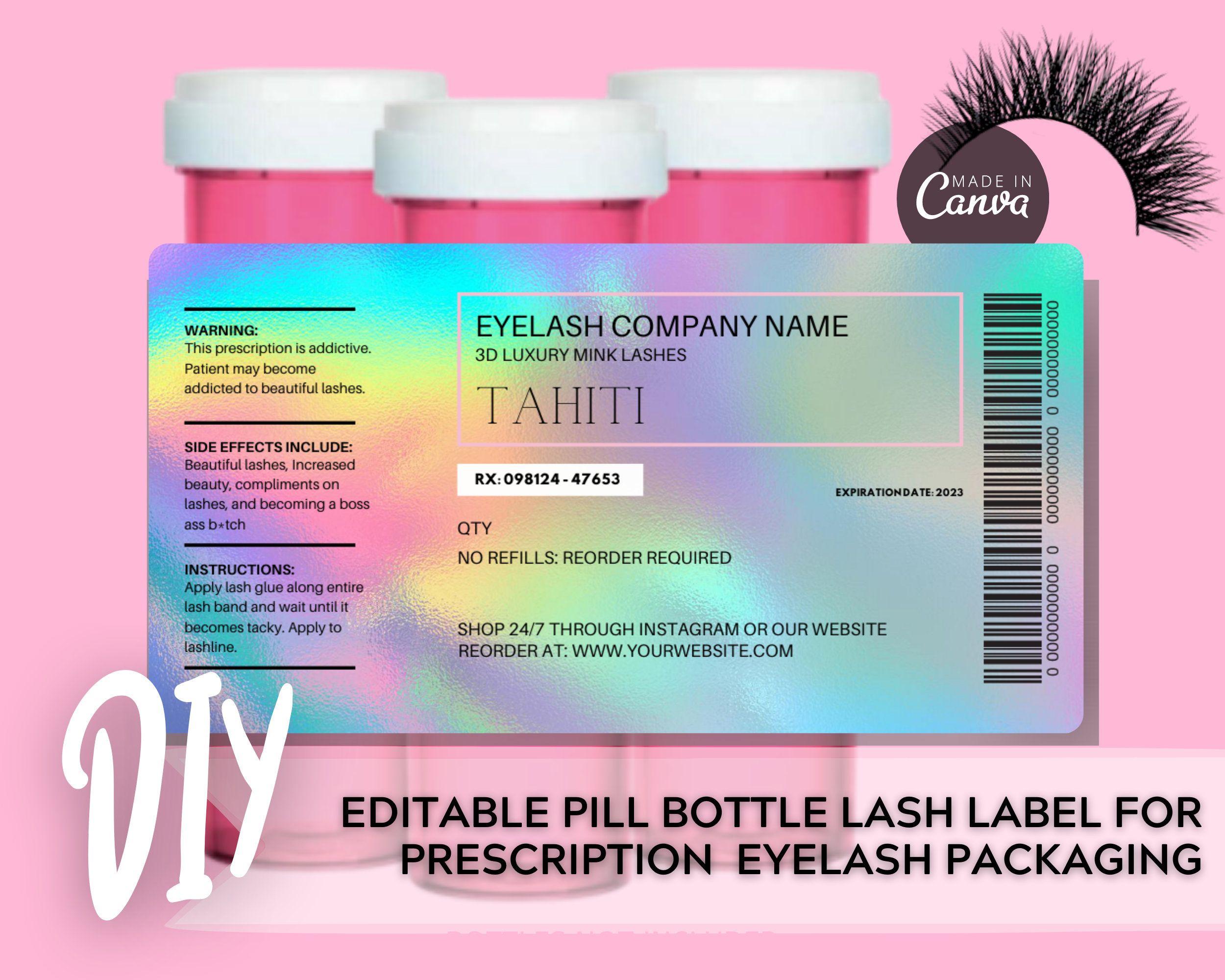 Diy Pill Bottle Lash Label Holographic Template Prescription Etsy Pill Bottles Labels Digital Labels Prescription pill bottle label templates