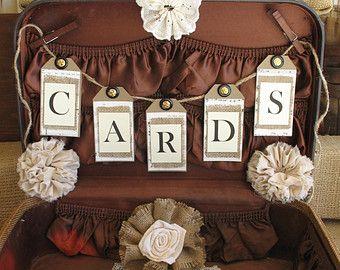 Vintage Suitcase Wedding Card Box Wedding Card Holder Shabby Chic Wedding Country Chic Wedding keepsake box #vintagesuitcasewedding