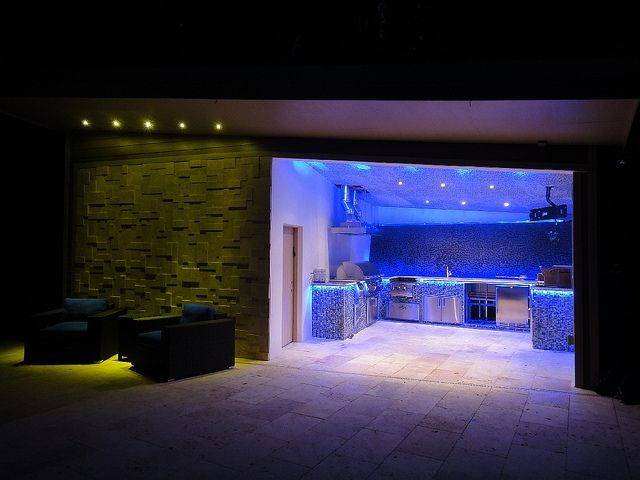 Outdoor Kitchen Led Lighting With Blue Flexible Strips Outdoor