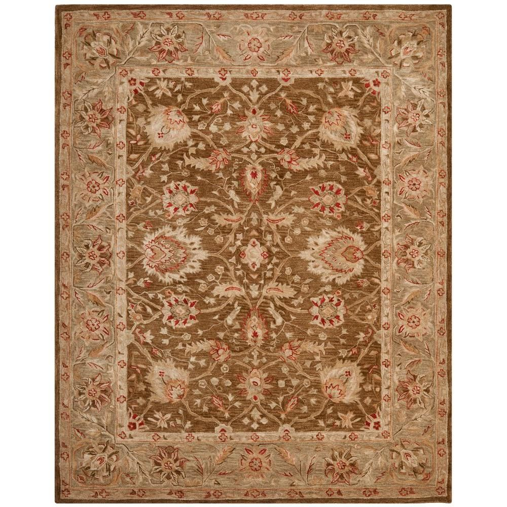 Safavieh Anatolia Rust Green 8 Ft X 8 Ft Round Area Rug Wool Area Rugs Area Rugs Rugs