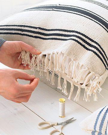 Ikea rug pillows. great idea