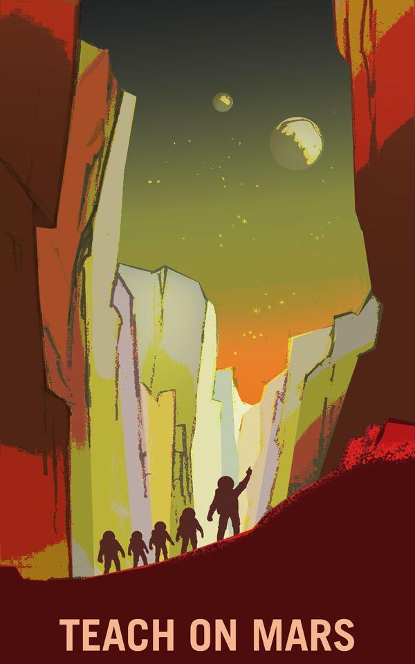 "24x36 /""Summit Olympus Mons/"" Retro  Exploration NASA Travel Poster"