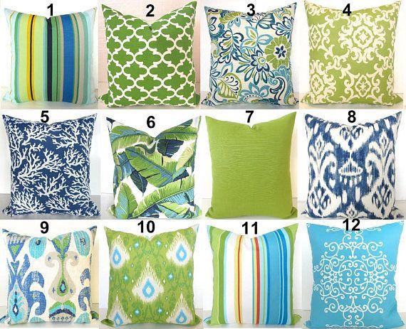Green Outdoor Pillows Lime Green Pillow Blue Outdoor Throw Pillow